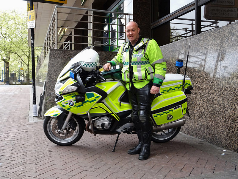 Our patron, West Midlands Ambulance Trust's very own Emergency Biker Birmingham based Paramedic, Mark 'Flymo' Hayes