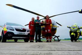 Dorset and Somerset Air Ambulance Crew with Devon Freewheeler Mo Ayling